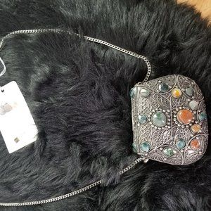 Sajai Vintage Metal Boho Stones Bag, Made in India